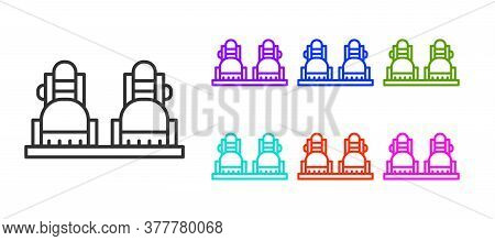 Black Line Snowboard Icon Isolated On White Background. Snowboarding Board Icon. Extreme Sport. Spor