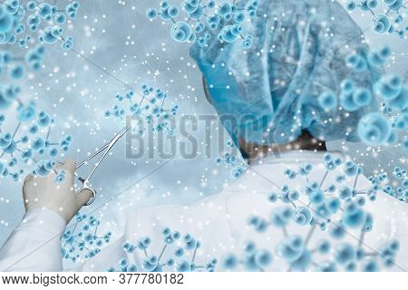Molecule Research Study Concepts. Doctor Examines Molecules With A Tool On A Blurred Background.