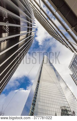 July 2020. London. Abstract Of The Shard Building In London England
