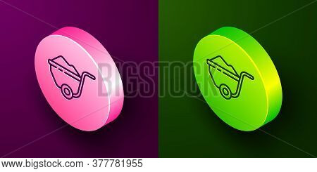 Isometric Line Wheelbarrow With Dirt Icon Isolated On Purple And Green Background. Tool Equipment. A