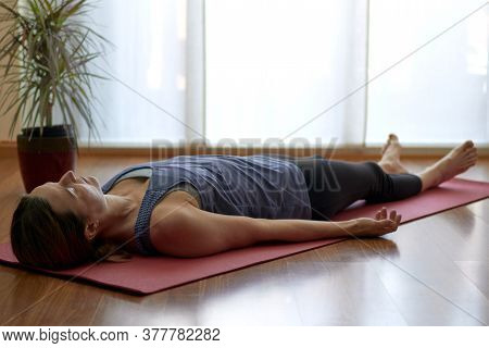 Woman Practicing Yoga, Lying In Yoga Nidra Pose, Exercise In Shavasana, Exercises, Work, Rest After