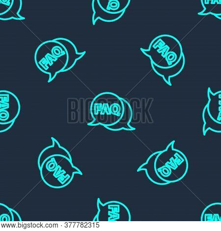 Green Line Speech Bubble With Text Faq Information Icon Isolated Seamless Pattern On Blue Background