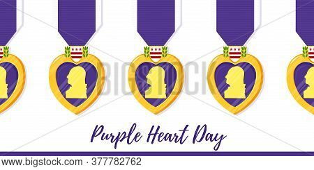 Vector Template Poster Purple Heart Day. Badge And Purple Ribbon In Flat Style On Violet Background.