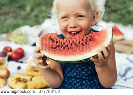 Cute Toddler Girl Eating Watermelon On A Picnic Outside In Summer. Spending Time In Pleasure. Childr