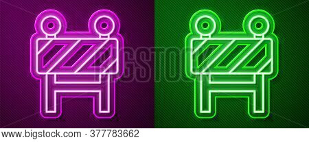 Glowing Neon Line Road Barrier Icon Isolated On Purple And Green Background. Symbol Of Restricted Ar