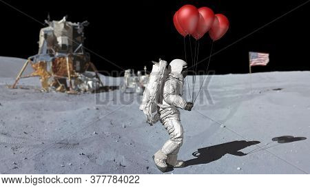 Astronaut Walking On The Moon With Red Balloons. Elements Of This Video Furnished By Nasa. 3d Render