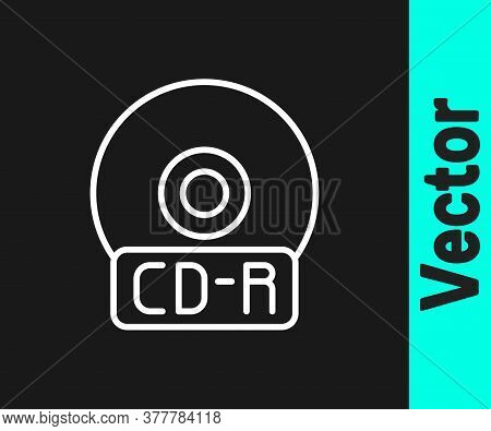 White Line Cd Or Dvd Disk Icon Isolated On Black Background. Compact Disc Sign. Vector Illustration