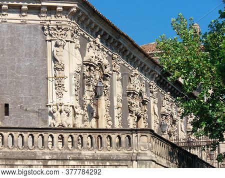 Biscari Palace in Catania is baroque monument of architecture in Sicily historical landmark