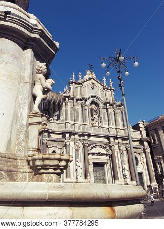 S. Agata Cathedral is monument of baroque architecture in Catania Old Town of Sicily landmark of culture and traditions