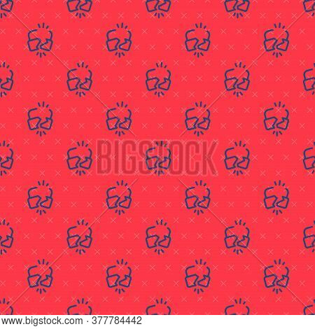 Blue Line Broken Or Cracked Lock Icon Isolated Seamless Pattern On Red Background. Unlock Sign. Vect