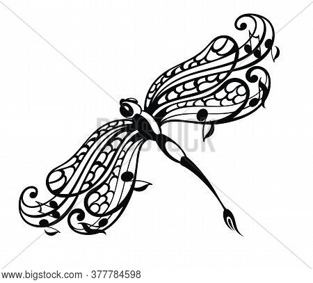 Dragonfly Logo With Line Art And Note Symbols - Vector.music And Dragonfly Symbol.