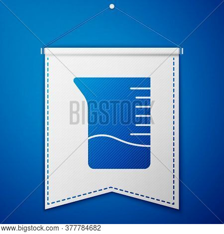 Blue Measuring Cup Icon Isolated On Blue Background. Plastic Graduated Beaker With Handle. White Pen