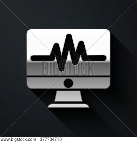 Silver Computer Monitor With Cardiogram Icon Isolated On Black Background. Monitoring Icon. Ecg Moni
