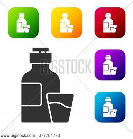 Black Bottle Of Medicine Syrup And Dose Measuring Cup Solid Icon Isolated On White Background. Set I