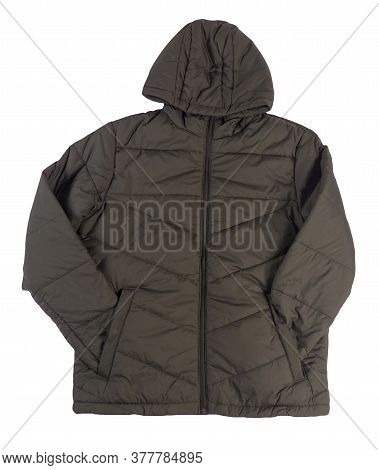 Mens Dark Green Jacket In A Hood Isolated On A White Background. Windbreaker Jacket Top View. Casual