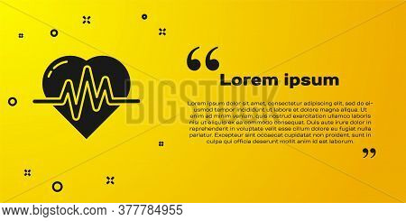 Black Heart Rate Icon Isolated On Yellow Background. Heartbeat Sign. Heart Pulse Icon. Cardiogram Ic