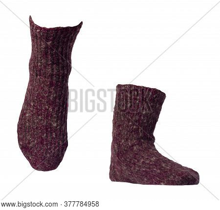 Woolen Burgundy Socks Isolated On A White Background. Winter Accessories