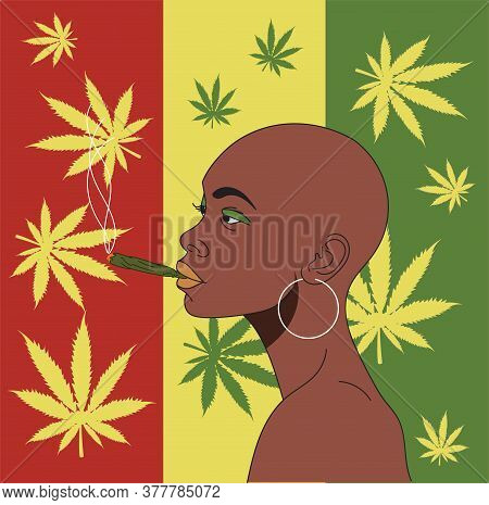 African Girl Smokes Hemp On A Background Of Hemp Leaves.