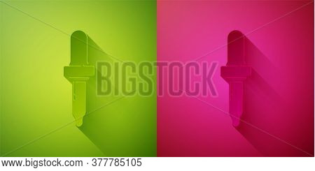 Paper Cut Pipette Icon Isolated On Green And Pink Background. Element Of Medical, Chemistry Lab Equi