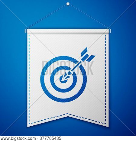 Blue Target With Arrow Icon Isolated On Blue Background. Dart Board Sign. Archery Board Icon. Dartbo