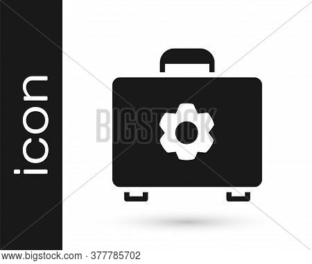 Grey Toolbox Icon Isolated On White Background. Tool Box Sign. Vector Illustration