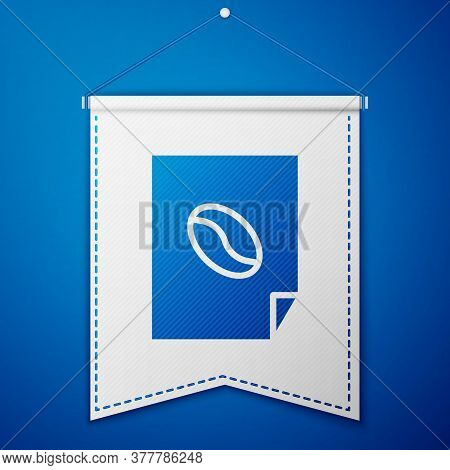 Blue Coffee Poster Icon Isolated On Blue Background. White Pennant Template. Vector Illustration
