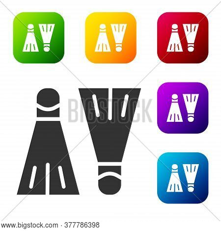 Black Rubber Flippers For Swimming Icon Isolated On White Background. Diving Equipment. Extreme Spor