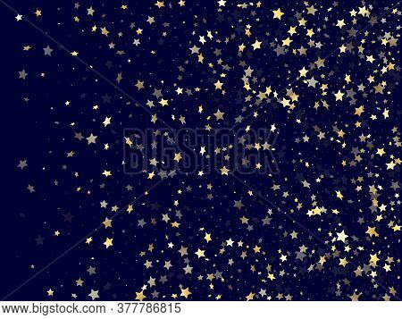 Gold Falling Star Sparkle Elements Of Glitter Gradient Vector Background. Chic Confetti Gold Stars F