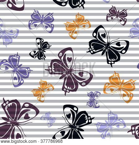 Flying Vivid Butterfly Silhouettes Over Horizontal Stripes Vector Seamless Pattern. Vintage Textile