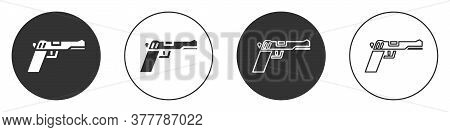 Black Pistol Or Gun Icon Isolated On White Background. Police Or Military Handgun. Small Firearm. Ci