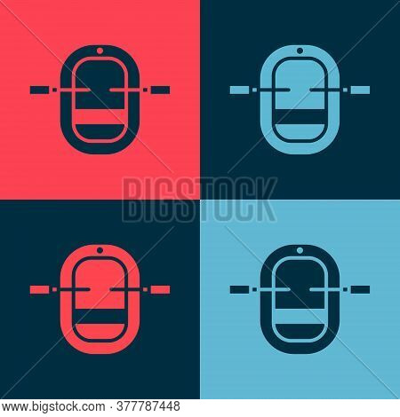 Pop Art Rafting Boat Icon Isolated On Color Background. Inflatable Boat With Paddles. Water Sports,