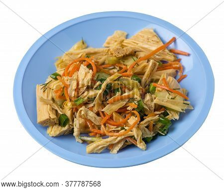 Salad With Soy Asparagus And Carrots, Cucumbers And Dumplings On A Plate. Vegetarian Soy Salad On A