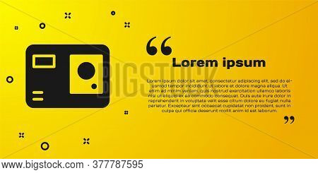 Black Action Extreme Camera Icon Isolated On Yellow Background. Video Camera Equipment For Filming E