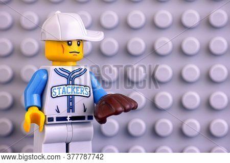 Tambov, Russian Federation - June 04, 2020 Portrait Of Lego Baseball Fielder Minifigure Against Lego