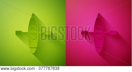 Paper Cut Kayak And Paddle Icon Isolated On Green And Pink Background. Kayak And Canoe For Fishing A