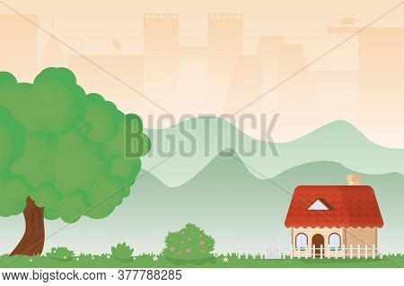 Country House Standing On A Green Lawn Next To A Large Green Oak Tree Near The City. Flat Illustrati