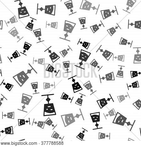 Black Wine Glass Icon Isolated Seamless Pattern On White Background. Wineglass Sign. Vector Illustra