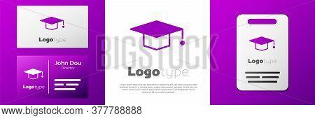 Logotype Graduation Cap Icon Isolated On White Background. Graduation Hat With Tassel Icon. Logo Des