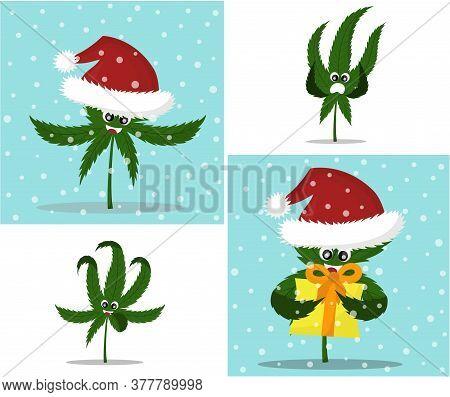 Vector Illustration Of Cartoon Christmas Cannabis. New Years. Cannabis Emotions
