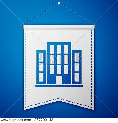 Blue House Icon Isolated On Blue Background. Home Symbol. White Pennant Template. Vector Illustratio