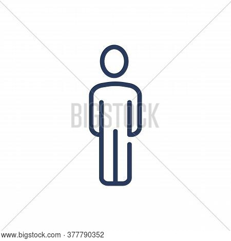 Person Thin Line Icon. One Man, Single, Employee Worker Profile Isolated Outline Sign. People, Busin