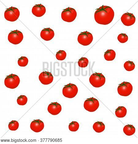 Vector Illustration Of Red Tomatoes. Tomatoes Background