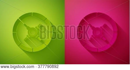 Paper Cut Safe Icon Isolated On Green And Pink Background. The Door Safe A Bank Vault With A Combina