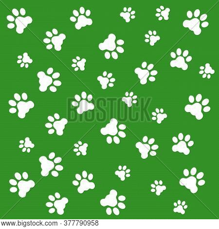 Vector Illustration Of Dog Paws Background. White Paws