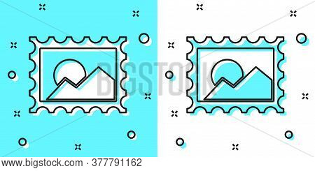 Black Line Postal Stamp Icon Isolated On Green And White Background. Random Dynamic Shapes. Vector I