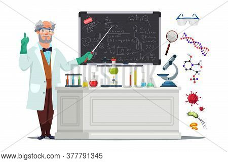 Senior Male Scientist In White Coat And Protective Glasses Standing Blackboard And Pointing With Poi