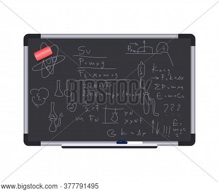 Chalkboard With Scientific Formulas Illustration. Algebra And Geometry Theories Written With Chalk.