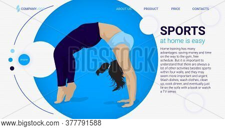 Young Man Practicing Sports Activity At Home Landing Page Template. Male Character Stretching. Flexi