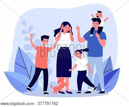 Tired Young Parents And Mischievous Happy Children Flat Illustration. Exhausted Mother And Father Su