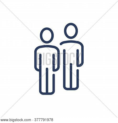 Business Partners Thin Line Icon. Two Characters, Friends, Colleagues Isolated Outline Sign. People,